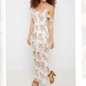 Nice sexy white floral maxi off shoulder dress